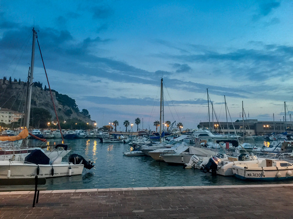 Cassis harbour at night.